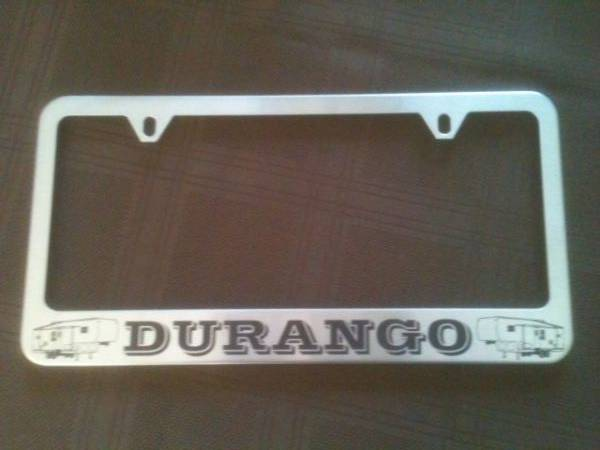 Durango engraved on metal frame