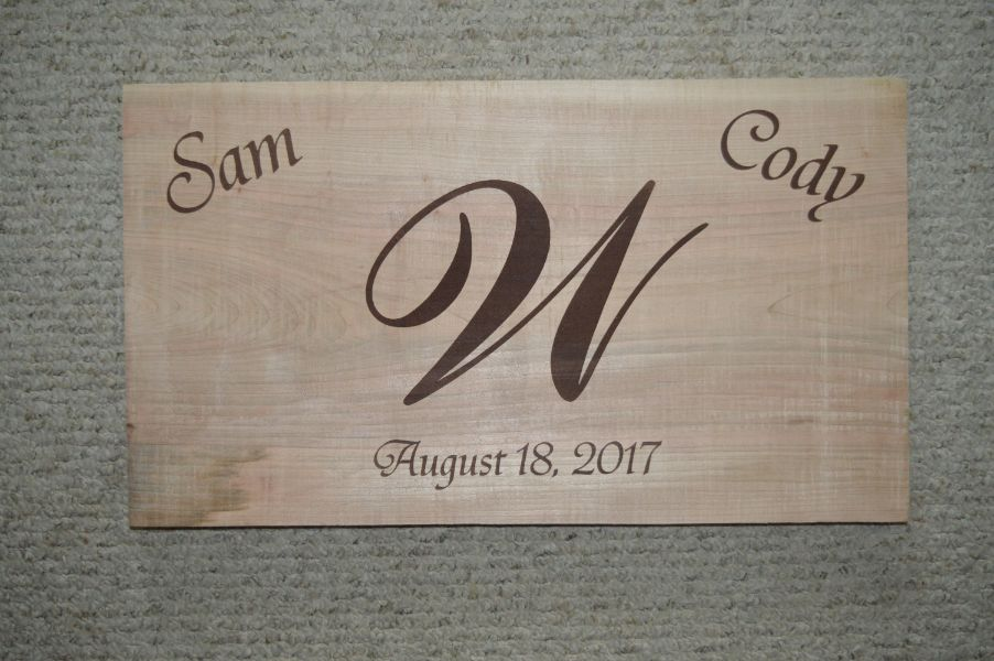 Sam and cody engraved wooden plate